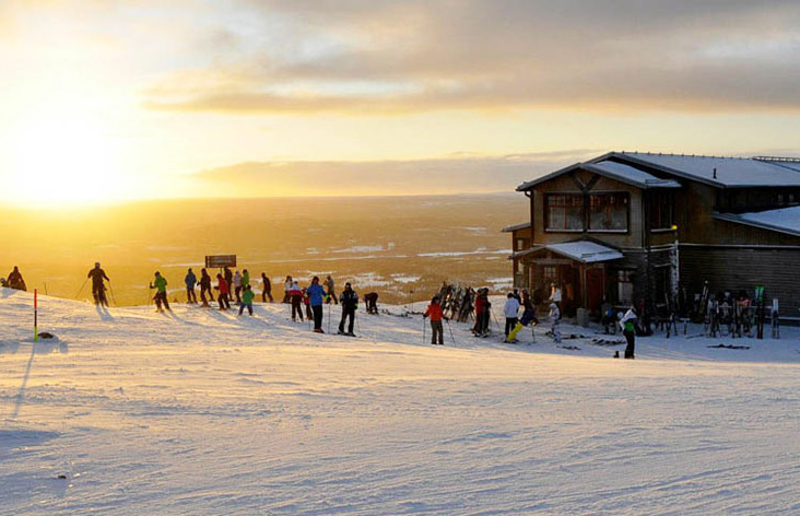 Skiers get ready to hit the slopes at the Idre ski resort in Sweden.