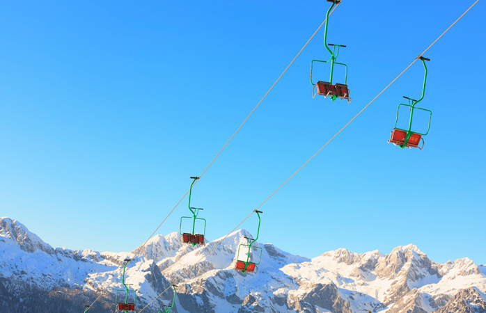 Colourful Slovenian ski lifts.