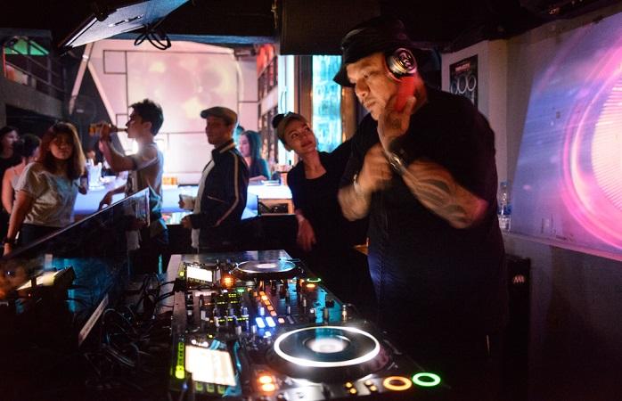 Image of DJ spinning records