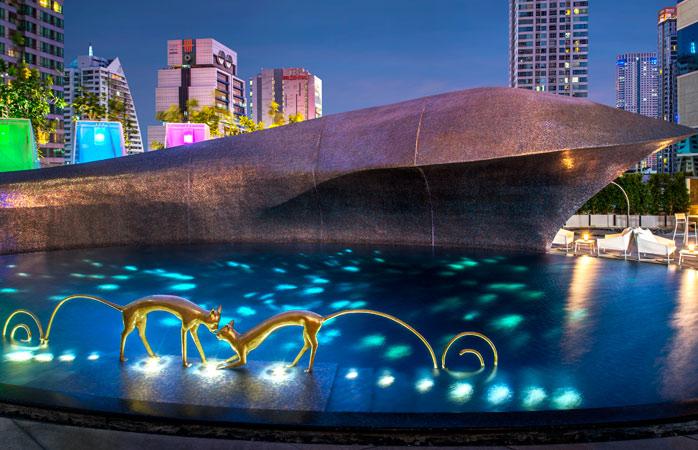 The artsy pool at W Bangkok, a pretty wacky luxury resort in Thailand.