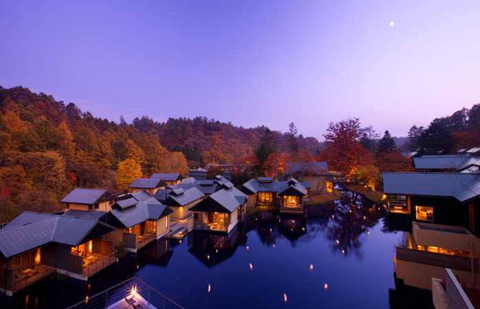 Evening silence settles over the Hoshinoya Karuizawa resort village