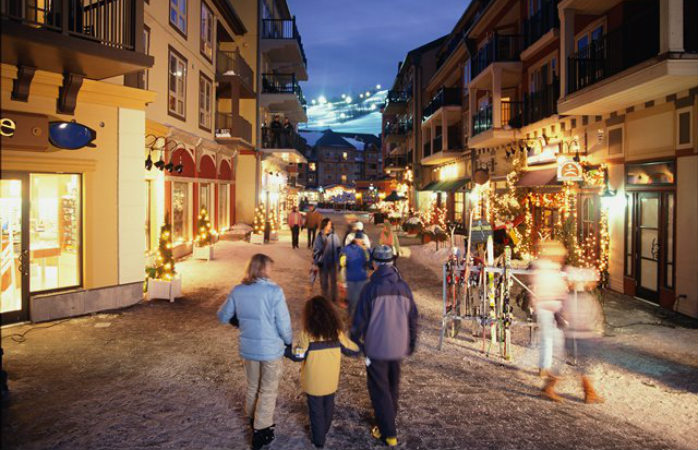The pedestrian village at Blue Mountain Resort is perfect for après