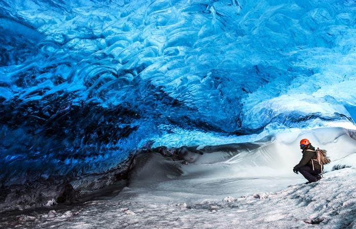 The glacier caves at Vatnajökull are spectacular
