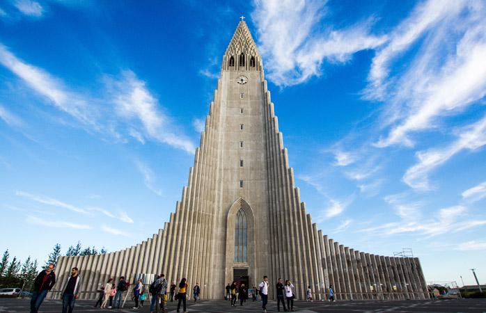 Hallgrímskirkja towers above Reykjavik