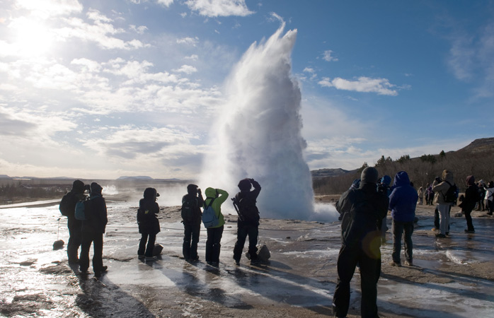 The spectacle at the Strokkur Geyser