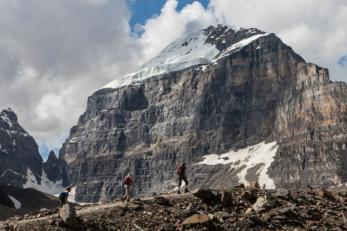 Hikers at the Plain of Six Glaciers - a six mile scenic hike not to be missed