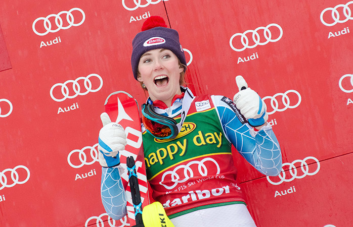 Mikaela Shiffrin on the podium celebrating her first place Slalom race at 51st Golden Fox ski competition in Maribor, Slovenia