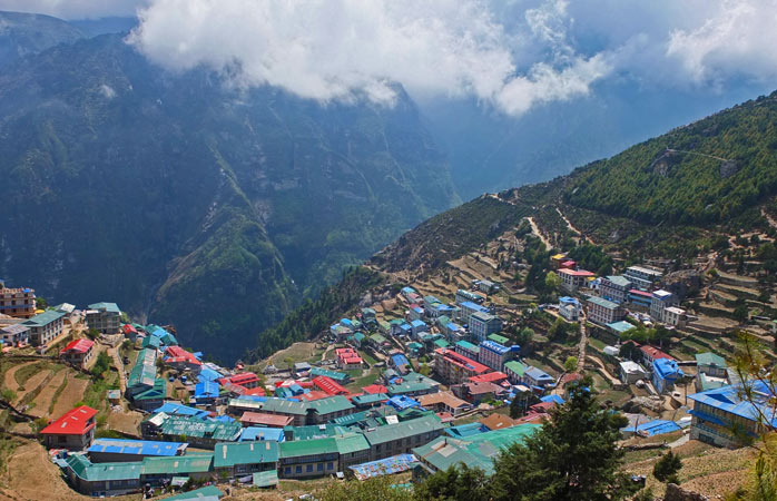 The Namche Bazaar sitting on the edge of the Earth