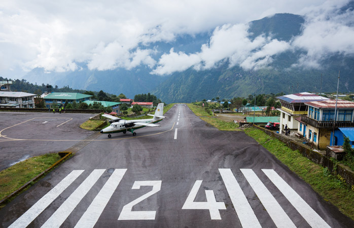 The tiny Lukla airport for such a big mountain