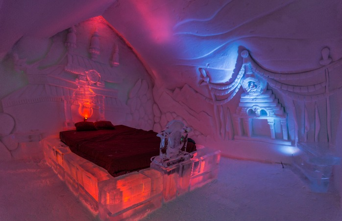 Drift into your dreams on ice beds such as these at Quebec's Hotel De Glace
