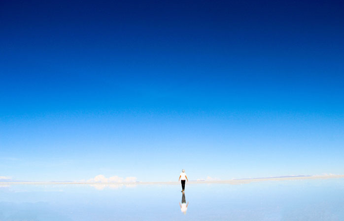 The reflective surface of Salar de Uyuni is a great place to put things into perspective