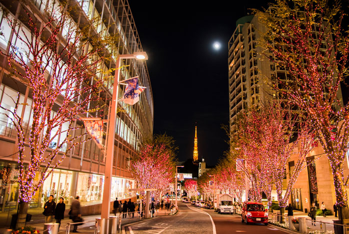 Don't miss the Christmas lights at Roppongi Hills with the Tokyo Tower in the background