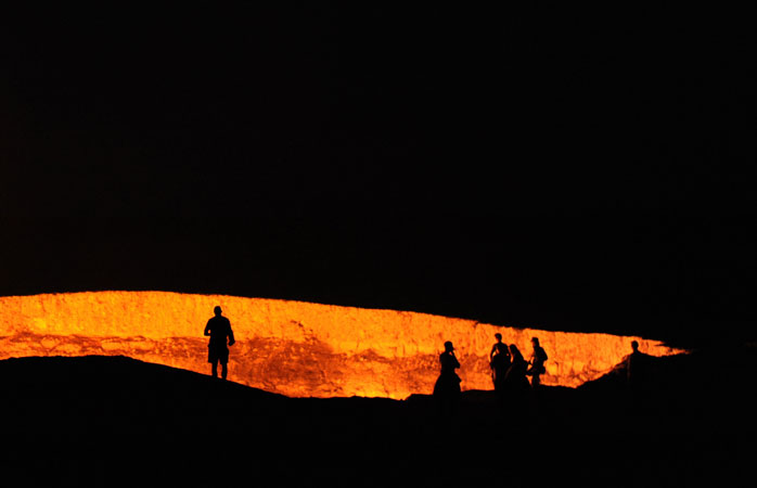 """Visit the """"Door to Hell"""" by night for prime time views of the raging inferno"""