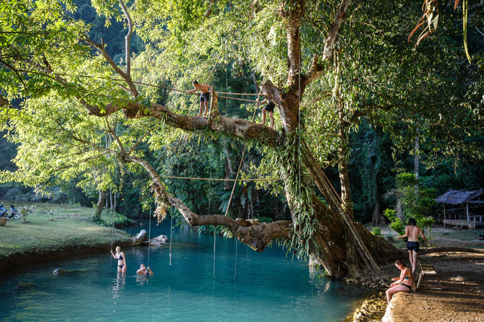 If outdoor activities and stunning lagoons – like The Blue Lagoon – are your thing, head to Vang Vieng for New Year's