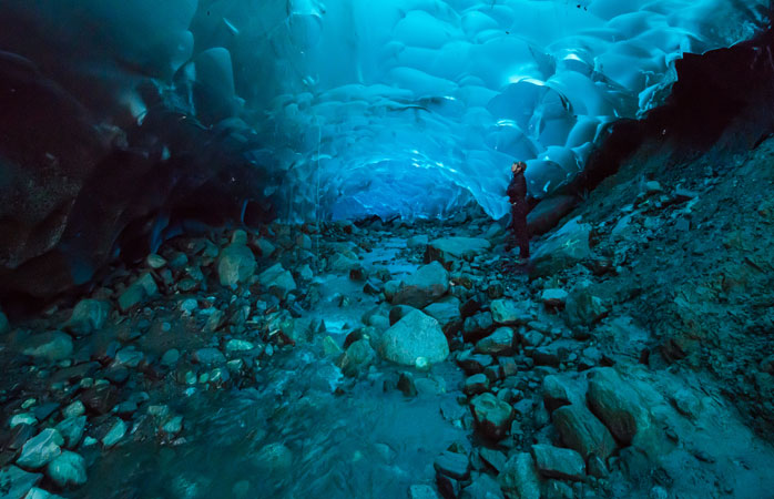 The end of the trail - the turquoise-coloured caves in the belly of the Mendenhall Glacier