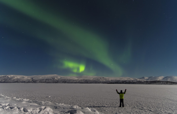 Take a nightly walk through Abisko and let the aurora borealis find you