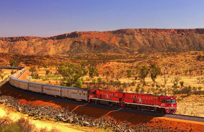 Cross through the rugged landscape of the Australian outback with the Ghan