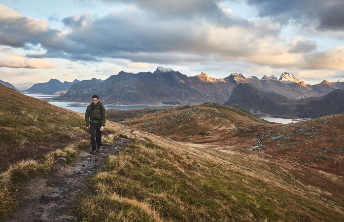Strap on your hiking boots and follow the trail to Ryten, a viewpoint overlooking Kvalvika Beach