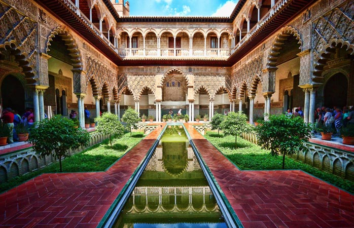 One of the finest examples of Mudéjar architecture is Seville's royal palace, Alcázar