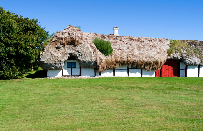 Læsø is known for its houses featuring seaweed-thatched roofs
