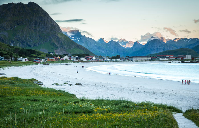 Ramberg Beach is the perfect spot to experience the midnight sun