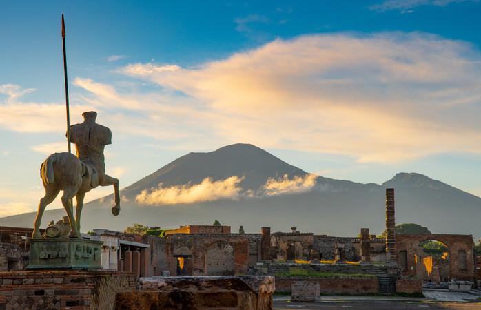 A view of Mt. Vesuvius from Pompeii