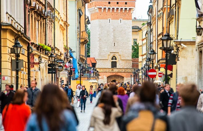 Krakow's city centre bustles with people