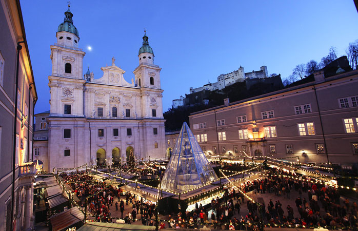 Salzburg's Christmas market is located in the picturesque Residenzplatz