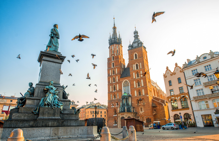 Krakow's Main Square is home to beautiful buildings like St. Mary's Basilica