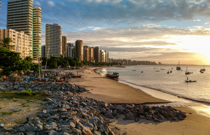 One of Fortaleza's many beaches at sunset